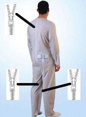 Verpleegpyjama plukpak man 37,49€ Rugrits en benenrits-Hansop lange benen en lange mouwen